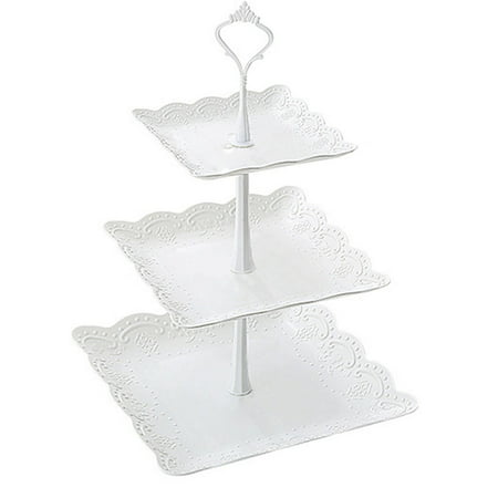 Three Layer PP Fruit Tray Cake Stand Vegetable Storage Rack Candy Plate Dessert Serving Tray ()