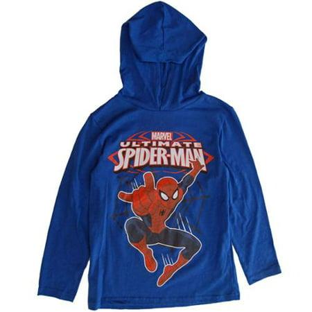 Boys Royal Blue Spiderman Superhero Print Hooded Shirt 8-16 - Hooded Superheroes