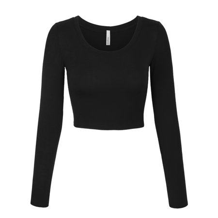 KOGMO Womens Long Sleeve Crop Top Solid Round Neck T (Adapter Long Sleeve)
