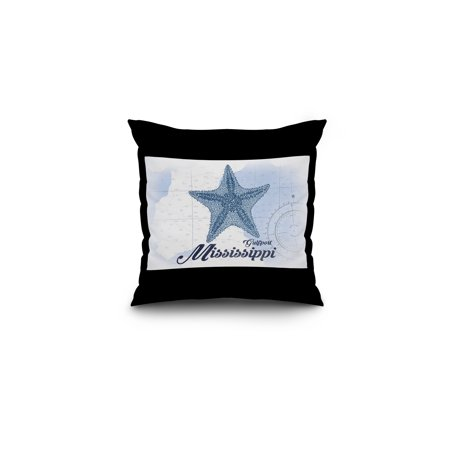 Gulfport  Mississippi   Starfish   Blue   Coastal Icon   Lantern Press Artwork  16X16 Spun Polyester Pillow  Black Border