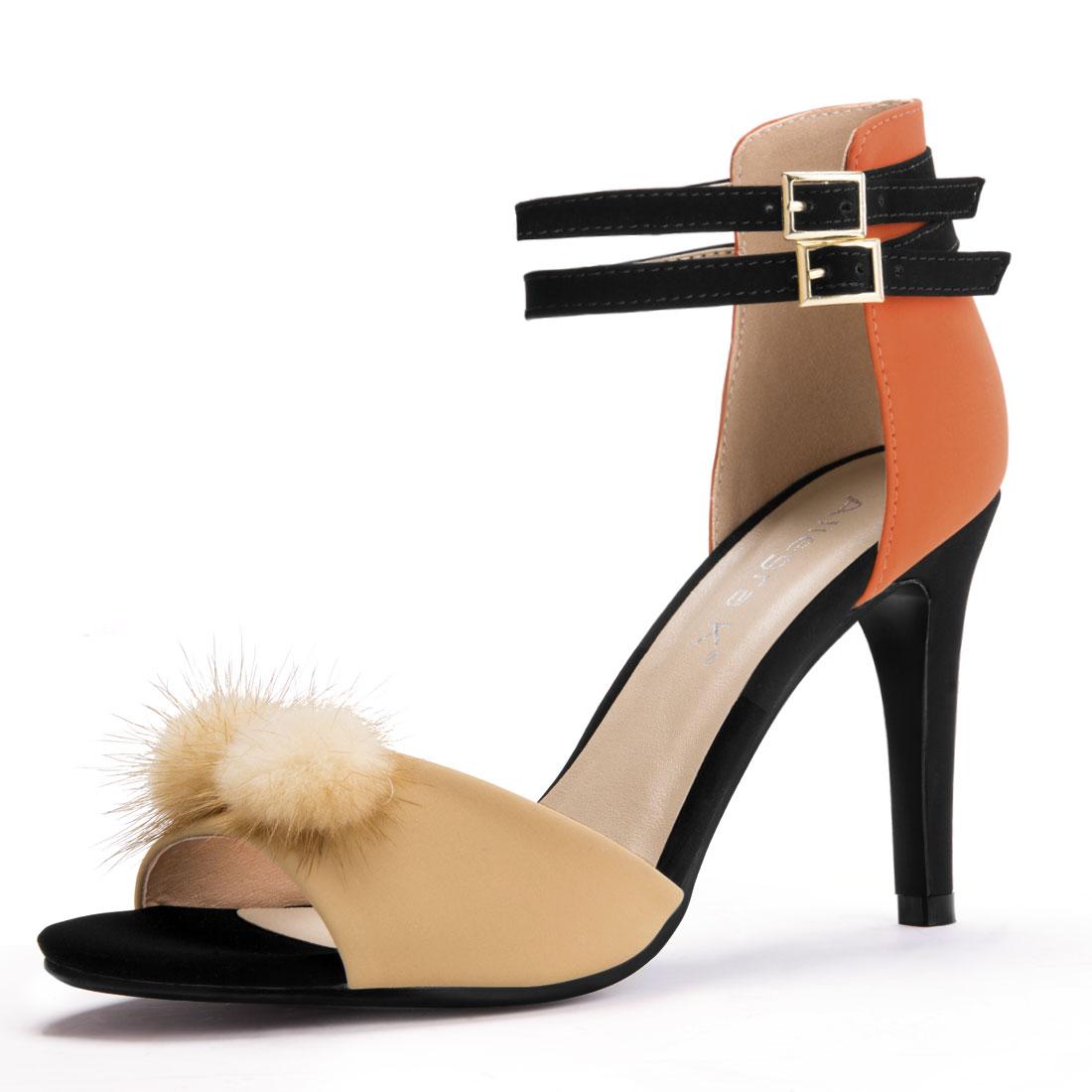 Unique Bargain Womens Pom Decor Ankle Strap Color Block Stiletto Heels Ochre Size 55