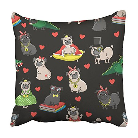 CMFUN Cute Pugs Characters Princess Nerd King Dragon Sexy Gangster Bad Dog with Breed Pillowcase Cushion Cover 16x16 - Gangster Dog