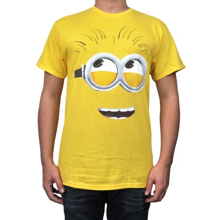Men's Despicable Me Minions T-Shirt - Phil Face Yellow Size - Minion Gifts For Adults