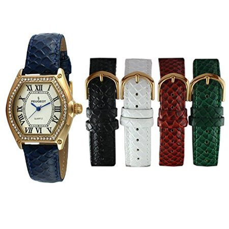 - Peugeot Women's 14k Gold Plated Tank Crystal Bezel Five Easy Release Interchangeable Leather Bands Watch Gift Set 679G