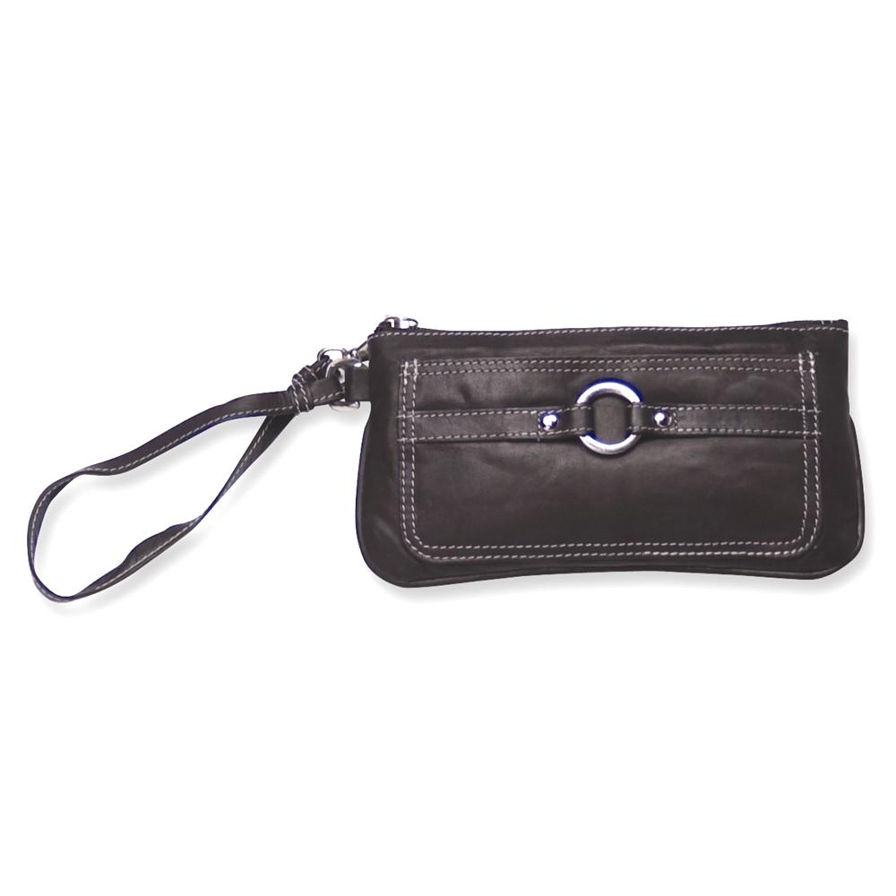 IceCarats Black Leather Wristlet  Woman Hbag Tote Wallet ...