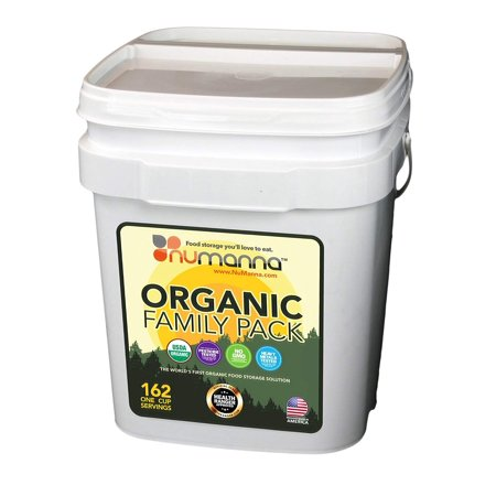 NuManna USDA ORGANIC Family Pack 162 Servings, Emergency Survival Food Storage Kit, Separate Rations, in a Bucket, Meals Included Have 25 Year Shelf Life , GMO-Free (Best Emergency Food Rations)