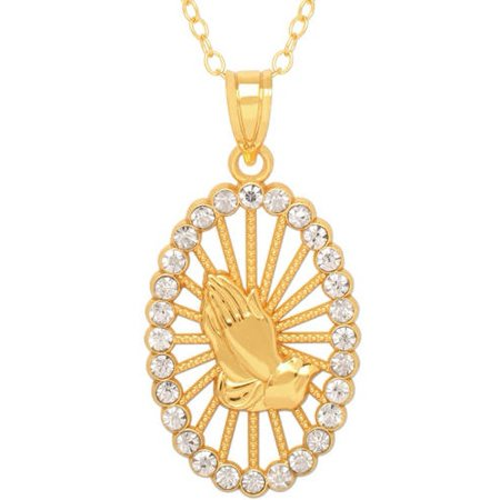 Praying Hands Crystal Accent 18kt Gold over Sterling Silver Oval Pendant, 18