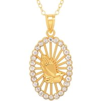 2d8f30839 Product Image Praying Hands Crystal Accent 18kt Gold over Sterling Silver  Oval Pendant, 18