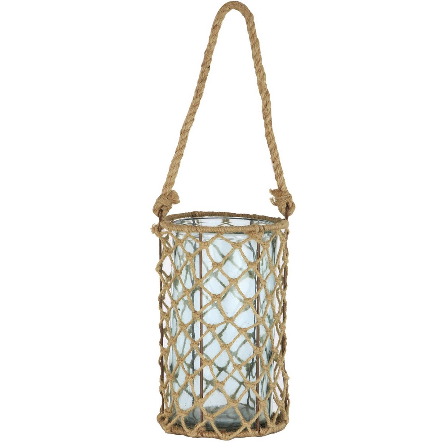"""Image of 10"""" Decorative Teal Glass and Jute Round Pillar Candle Holder with Handle"""