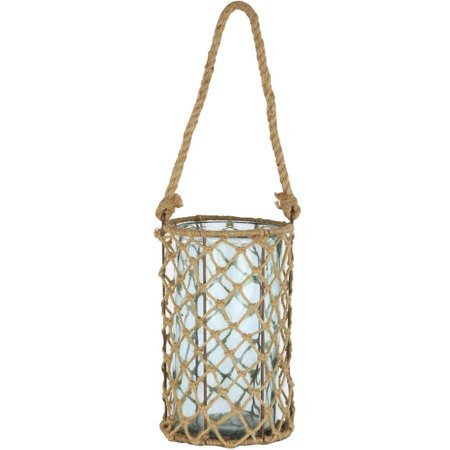 "Image of 10"" Decorative Teal Glass and Jute Round Pillar Candle Holder with Handle"