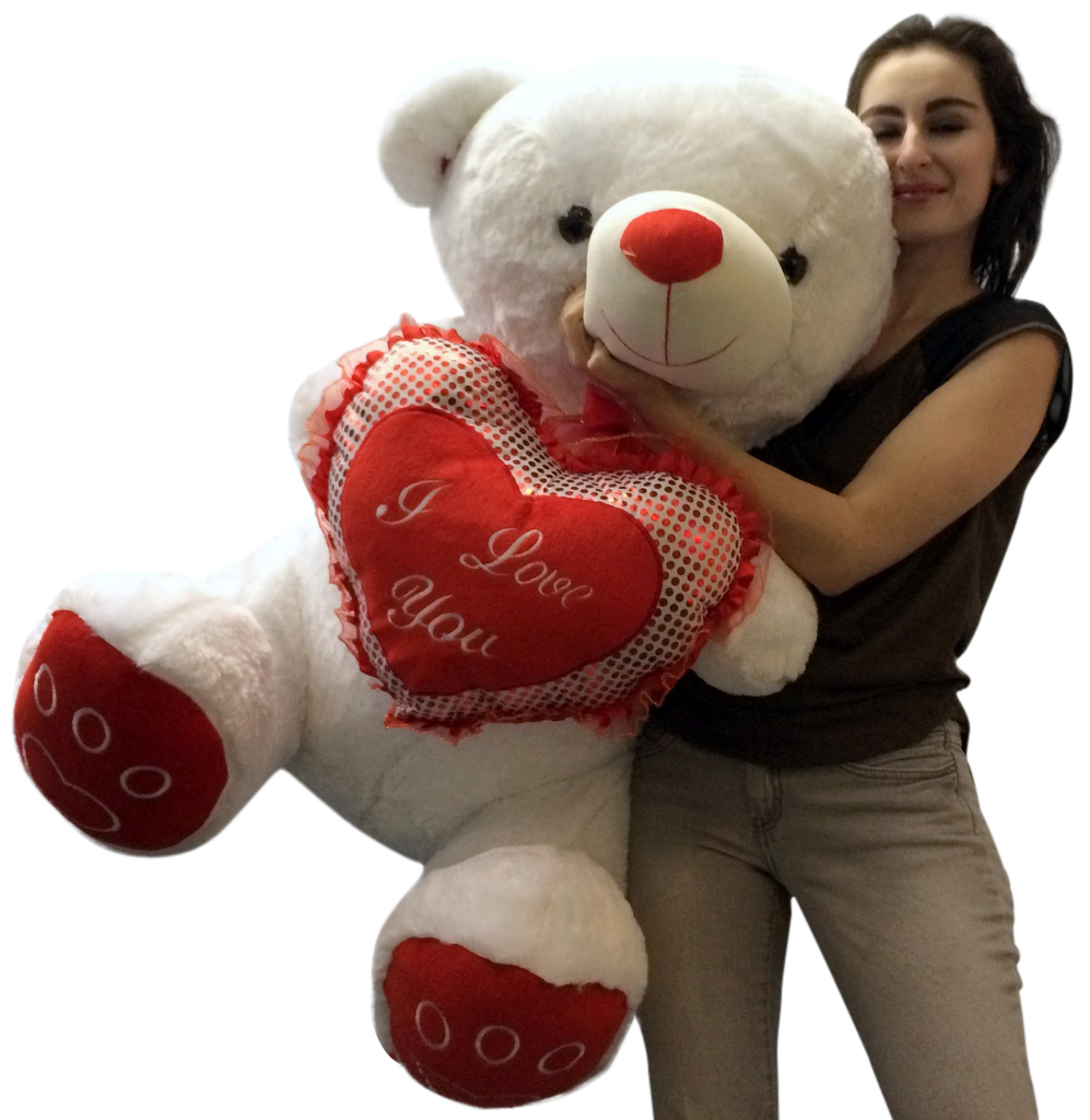 Giant Valentines Day Teddy Bear Soft White Oversized Plush Holds I LOVE YOU  Heart Pillow   Walmart.com