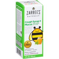 Zarbee's Naturals Children's Cough Syrup + Mucus with Dark Honey & Ivy Leaf , Natural Grape Flavor, 4 Fl. Ounces (1 Box)
