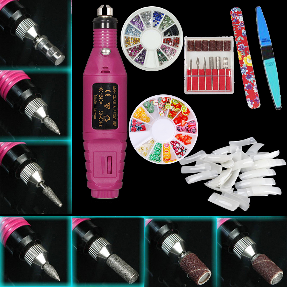 iMeshbean Professional Colorful Nail Art Drill Kit Electric File Buffer Acrylics 6 File Pedicure Machine, Pink