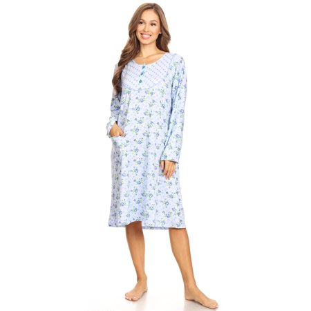 16010 Womens Nightgown Sleepwear Pajamas Woman Long Sleeve Sleep Dress Nightshirt Blue L