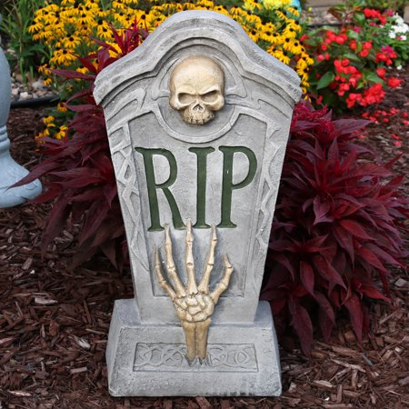 Sunnydaze RIP Graveyard Tombstone Halloween Decoration, 24-Inch Tall