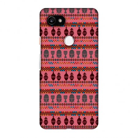 Google Pixel 2 XL Case - Masks and pottery- Pink and grey, Hard Plastic Back Cover, Slim Profile Cute Printed Designer Snap on Case with Screen Cleaning Kit ()