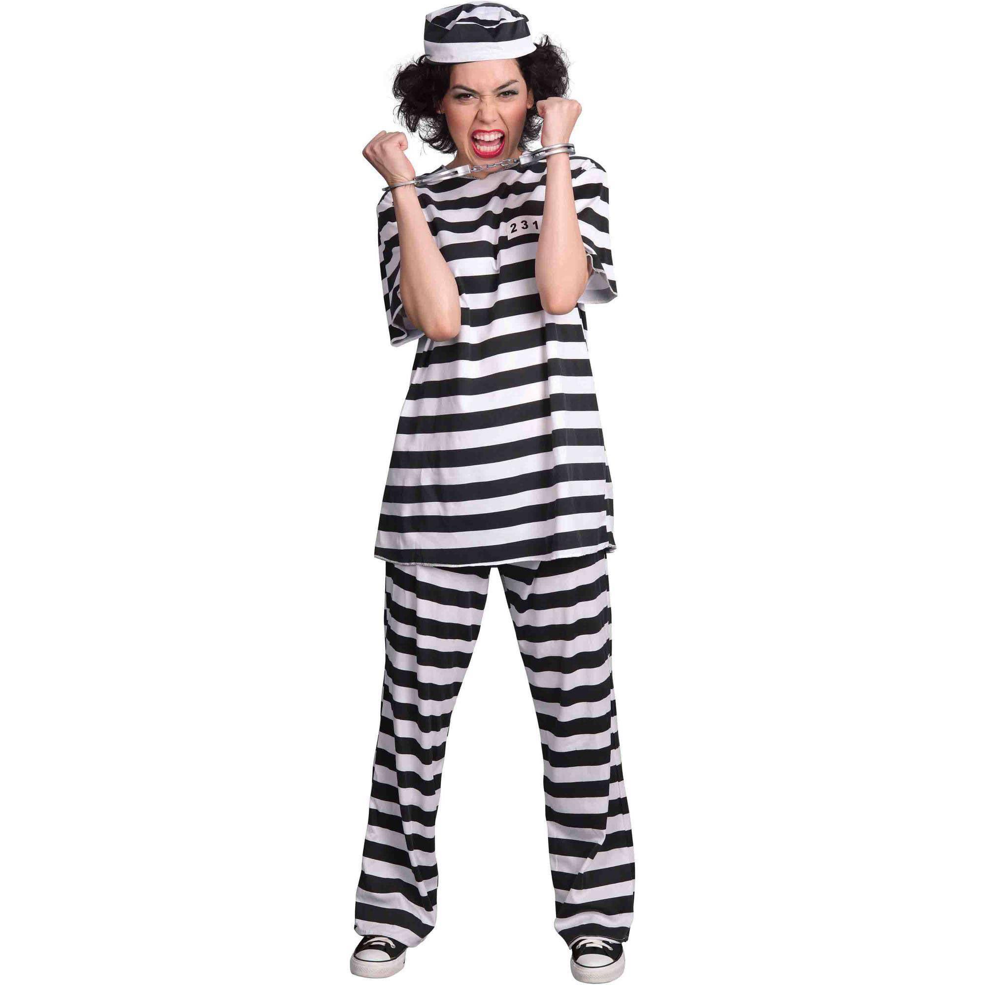 Womens Black and White Gaga Lady Prison Telephone Costume ...