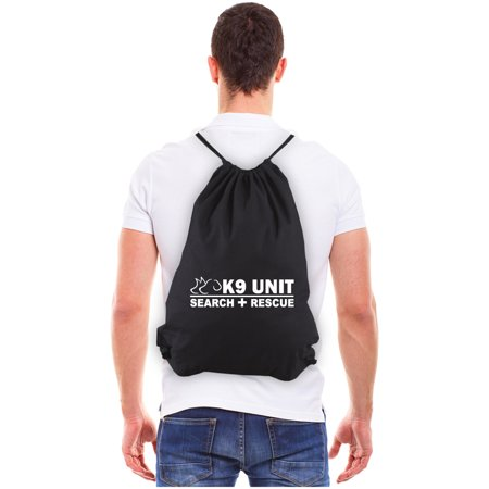 K-9 Unit Search and Rescue Reusable Canvas Drawstring Bag, Black & White