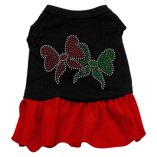 Christmas Bows Rhinestone Dress Black with Red XS (8)