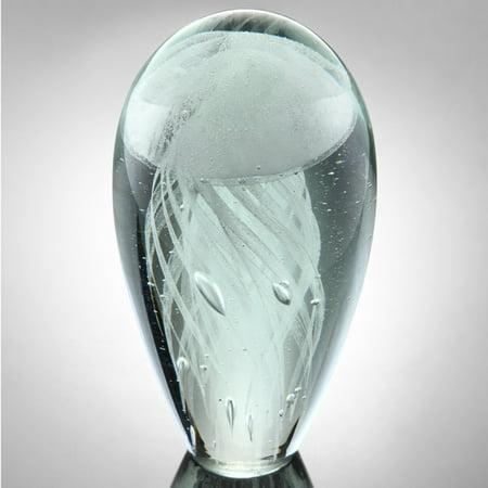 San Pacific International Art Glass White Glow Jellyfish Sculpture with Optional Light (San Simeon Two Light)