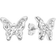 Body Candy Sparkly White Butterfly Stud Earrings