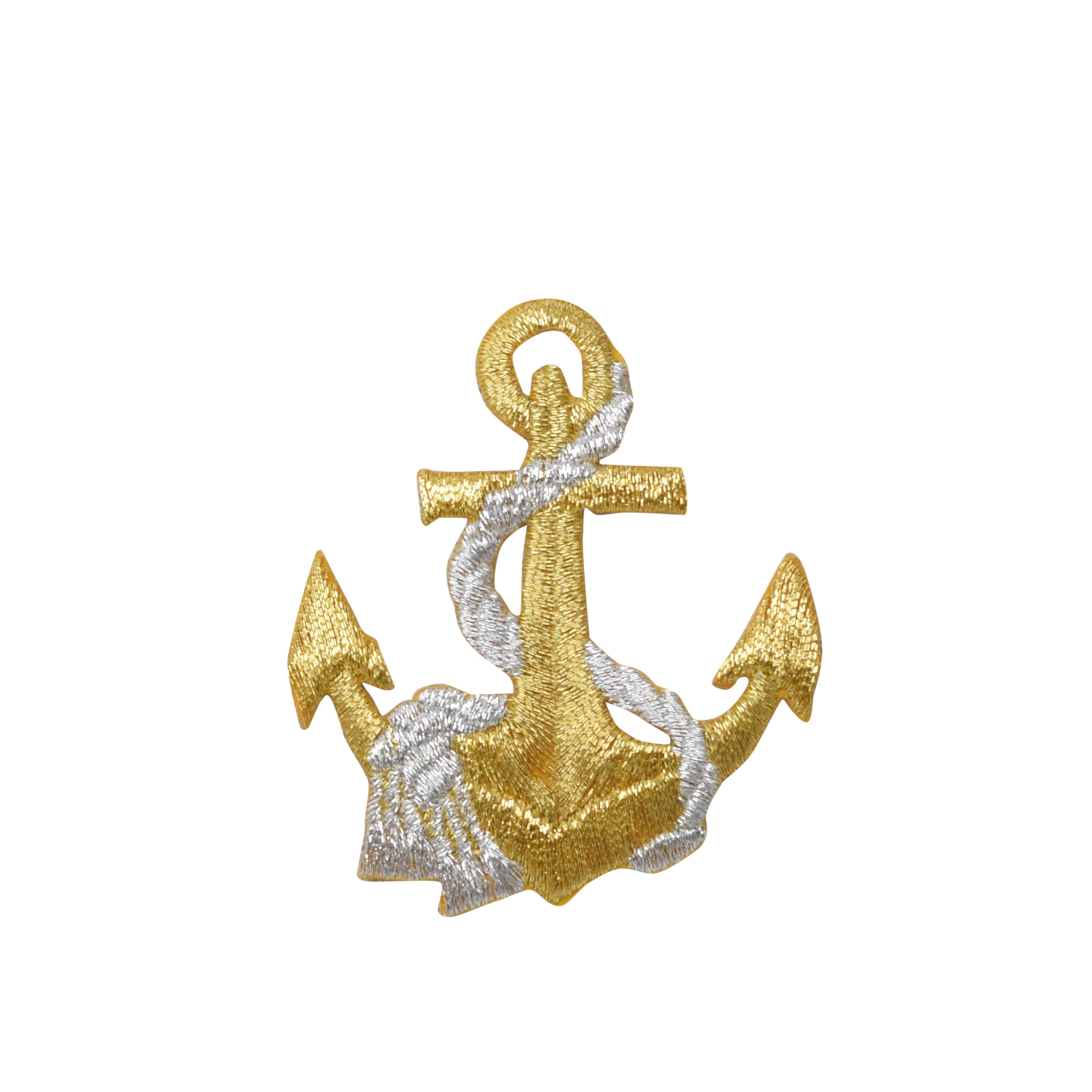 """Lot of 2 1/"""" Yellow Gold Nautical Anchor Embroidery Patch"""