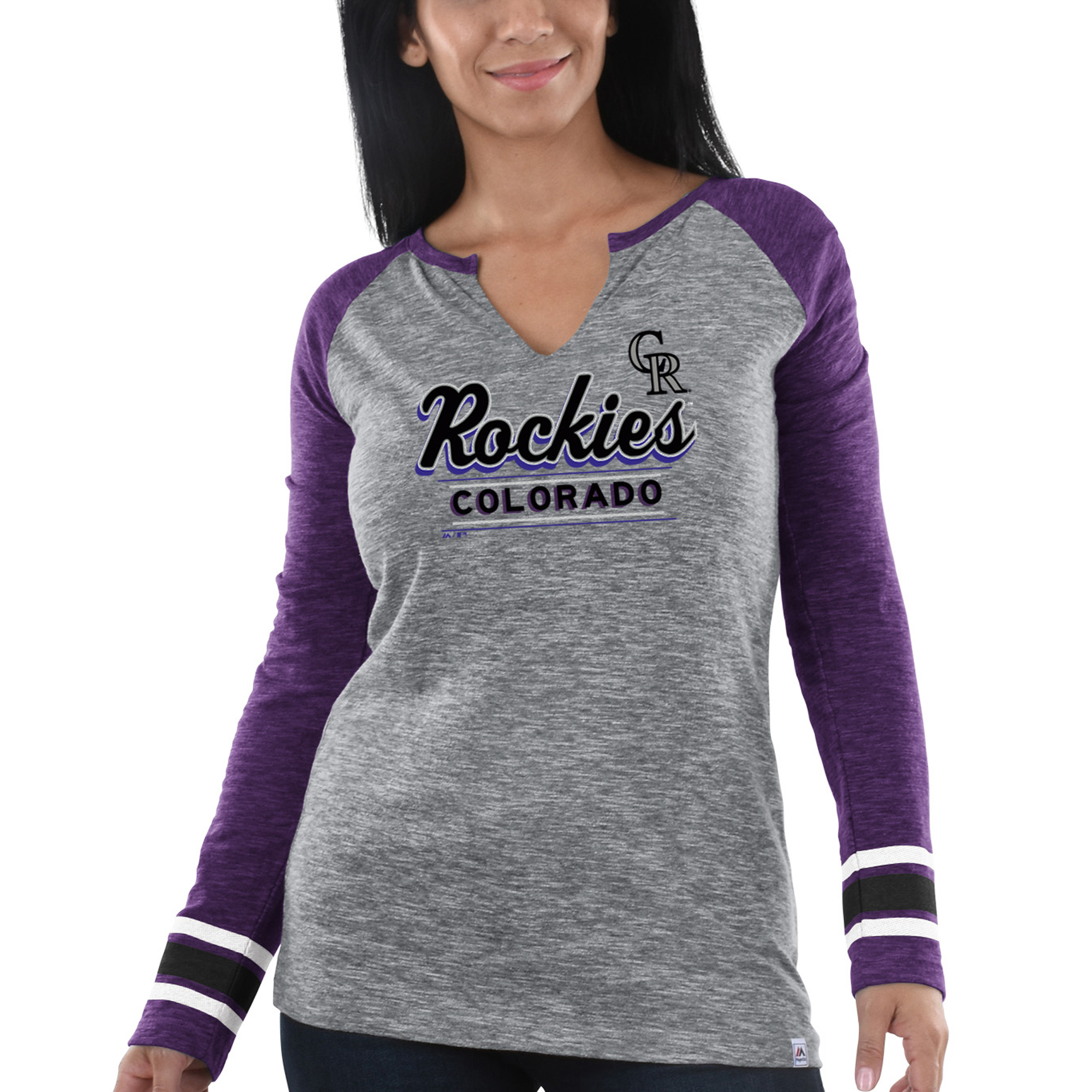 Women's Majestic Heathered Gray/Purple Colorado Rockies Time's Running Out Long Sleeve T-Shirt