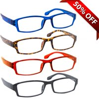Tuvision Readers Unisex +1.50 Reading Glasses, Black/Tortoise/Red/Blue, 4 Pack