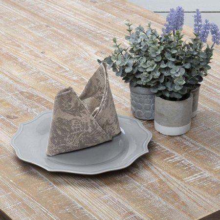 Desert Sand Tan Farmhouse Tabletop Kitchen Rebecca Cotton Linen Blend Distressed Appearance Floral / Flower Square Napkin Set of (Desert Blend)