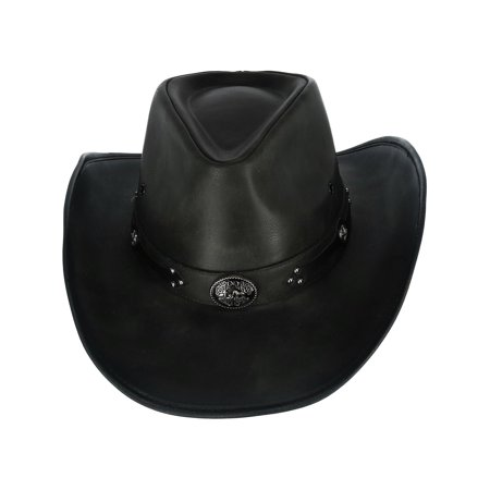 - Size Medium Men's Distressed Faux Leather Western Hat with Black Conchos and Studs, Black