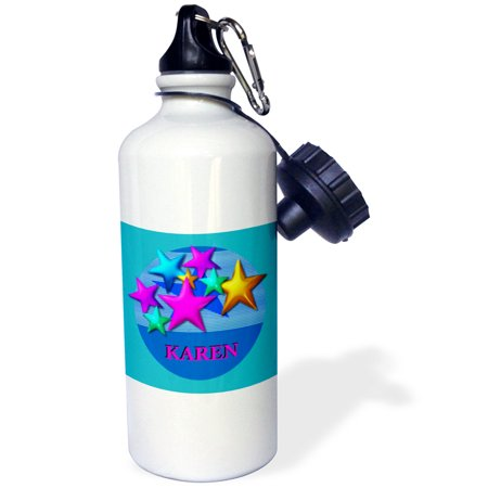 3dRose Vibrant colored stars on a blue background personalized with the name KAREN, Sports Water Bottle, 21oz