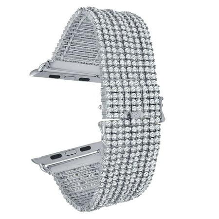 Micro Pave 14K White Gold Finish Apple Watch Custom Bracelet Series #4 Iced Out Band Simulated Diamond 44mm - Custom Ink Bracelets