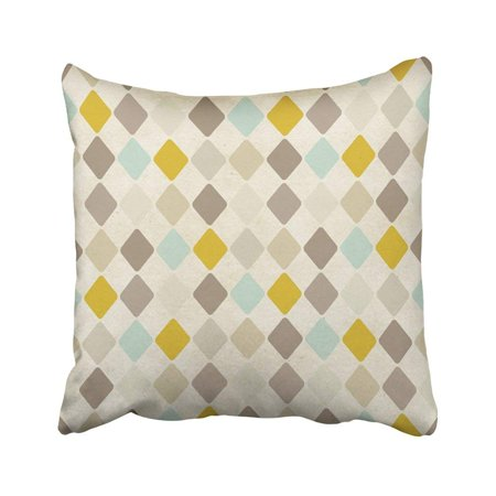 WOPOP Beige Coffee Harlequin Pattern On Colorful Vintage Argyle Retro Old Abstract Cotton Pillowcase Throw Pillow Cover Case 18x18 inches
