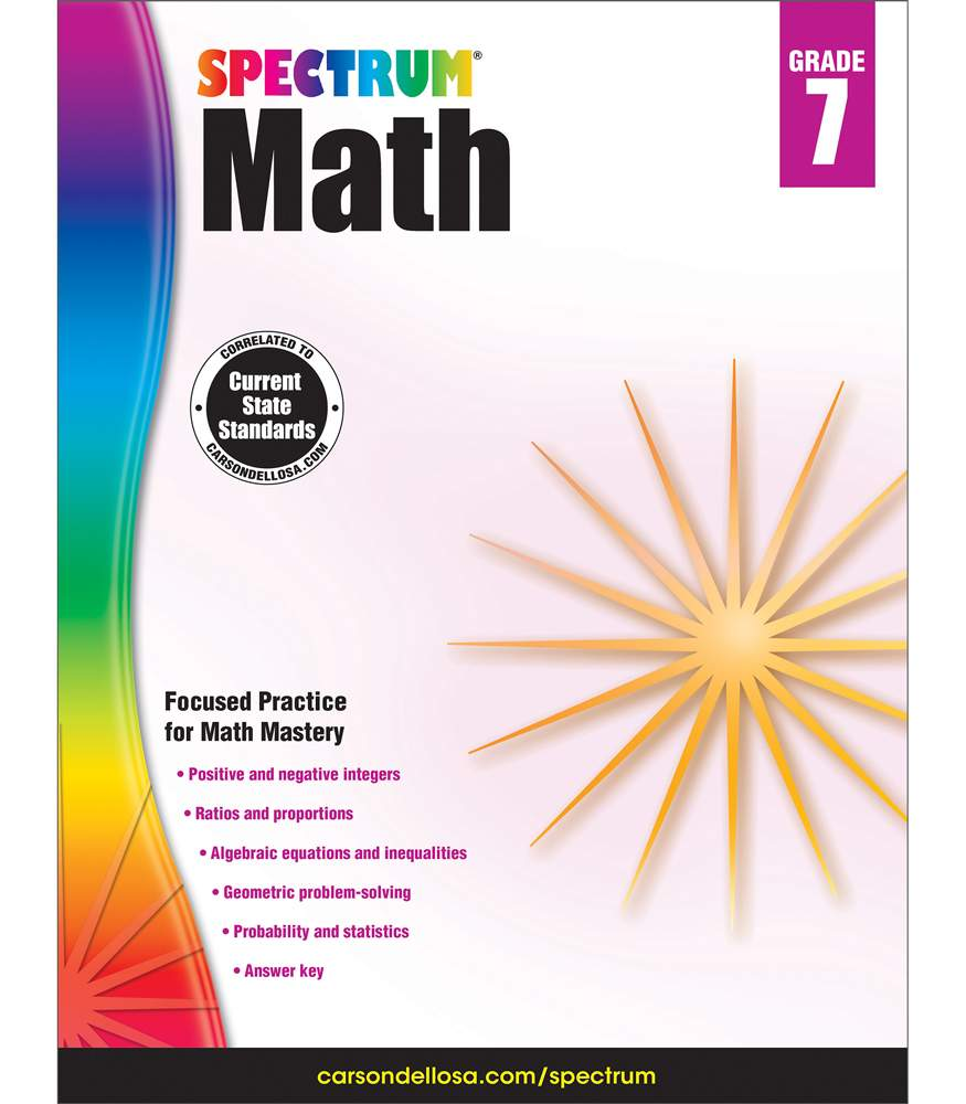 Spectrum Spectrum Math Workbook, Grade 7 160 pages - Walmart.com