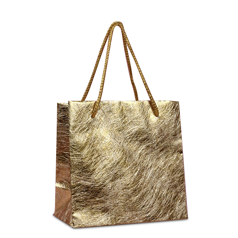 """Yellow Fibrous Metallic Bags 