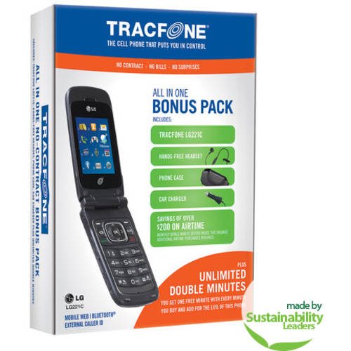 TracFone LG 221C Prepaid Cell Phone Bundle with Double Minutes for Life