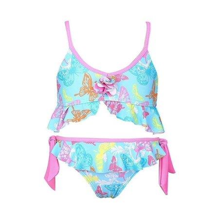 Sun Emporium Girls Pink Butterfly Garden Tie Side 2 Pc Bikini Swimsuit