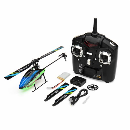 WLtoys V911S 2.4G 4CH 6-Aixs Gyro Flybarless RC Helicopter RTF Color:Blue green