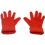 womens Red Solid Color Fold Cuff Fleece Gloves