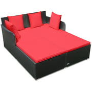 Topbuy Patio Rattan Daybed with 4 Pillows Cushioned Sofa for Outdoor Turquoise