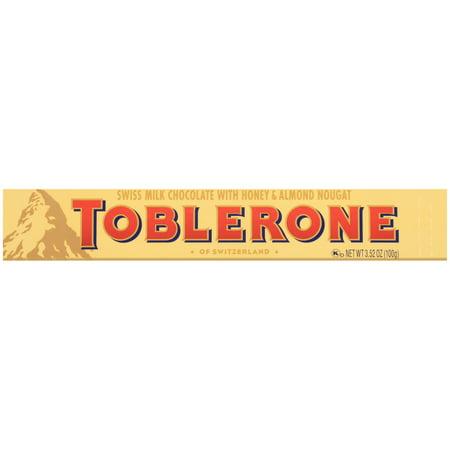 TOBLERONE Swiss Milk Chocolate with Honey & Almond Nougat, 3.52 oz Bar