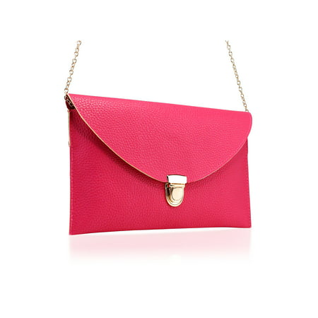 Red Leather Clutch Bag (Women Handbag Shoulder Bags Envelope Clutch Crossbody Satchel)