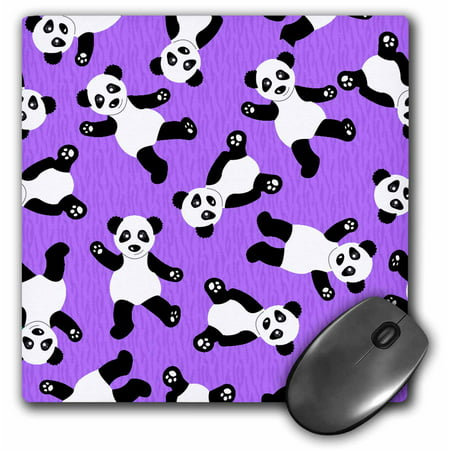 3dRose Cute Happy Cartoon Panda Print on Purple Fur Print Ba