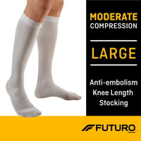 FUTURO Anti-Embolism Stockings, Knee Length, Closed Toe, Large Regular, White
