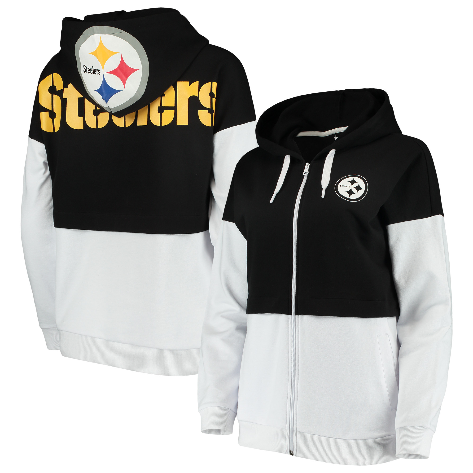 huge selection of e3b26 9634e Pittsburgh Steelers G-III 4Her by Carl Banks Women's Game Changer Full-Zip  Hoodie - Black/White