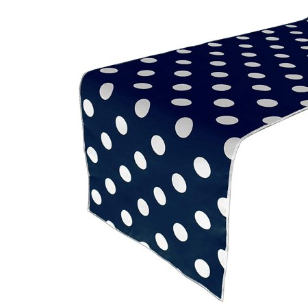 lovemyfabric Decorative Cotton White Polka Dots/Spots On Navy Blue Print For Party Events Wedding Home Decor Table Runner. 12
