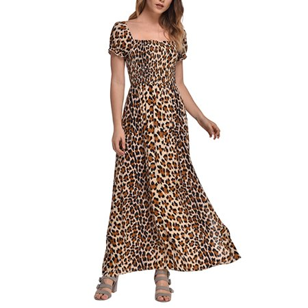 Scoop Neck Leopard Print Dress (Women Leopard Print Long Sleeve Maxi Long Dress Party Square Neck Sexy)