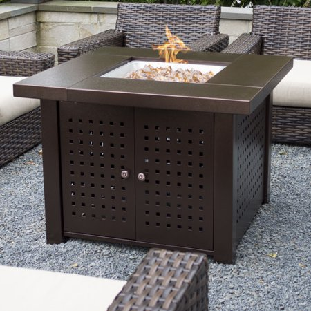 pleasant hearth eden 38 square gas fire pit table. Black Bedroom Furniture Sets. Home Design Ideas