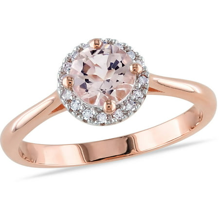4/5 Carat T.G.W. Morganite and Diamond-Accent Pink Rhodium-Plated Sterling Silver Halo Ring Morganite Pink Sapphire Ring