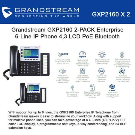 Grandstream GXP2160 2-PACK Enterprise 6-Line IP Phone 4.3 LCD PoE Bluetooth (Enterprise Ip Phone)
